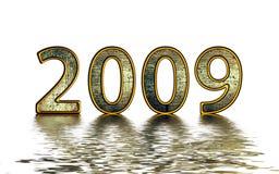 2009 guld- reflexion Arkivbilder