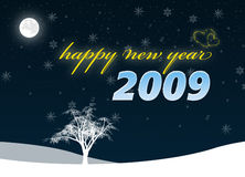2009 Happy new year. Happy new year 2009 greeting symbolized on starry night scene vector illustration