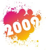 2009 illustration. Rainbow splash with 2009 illustration Stock Image