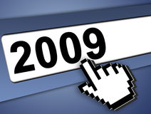 2009 internet concept. 2009 new year Graphic bar with mouse pointer , on blue background Stock Photography