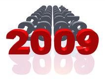 2009 isolated. 2009 with set of figures symbolizing 2000 - 2008. Set of figures symbolizing 2000 - 2008 with 2009 in the foreground vector illustration