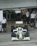 2009 Jenson Button at Malaysian F1 Grand Prix. SEPANG, MALAYSIA - APRIL 3 : Jenson Button of Brawn GP F1 Team in action during practice session at Malaysian F1 Stock Images