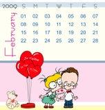 2009 kalendarzowy Luty Ilustracja Wektor