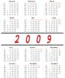 2009 Kalender Royalty-vrije Stock Foto