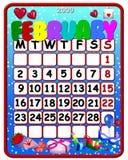 2009 kalender februari Royaltyfri Bild