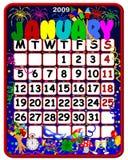 2009 kalender januari royaltyfri illustrationer