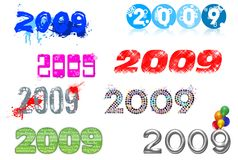 2009 lettering series. A collection of 2009 different header and lettering for calendar,cards,and so on...everything you are able to think about the new year royalty free illustration