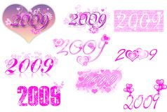 2009 lettering series-love theme-. A collection of 2009 different header and lettering for calendar,cards,and so on...everything you are able to think about the Stock Image