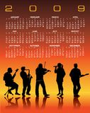 2009 Musical Calender. An illustrated 2009 calendar with silhouetted musicians performing live on an orange and yellow colored background Royalty Free Stock Image