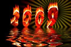 2009 números en la inundación del fuego en agua Imagen de archivo libre de regalías