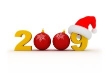 2009 new year. 3d illustration with golden text '2009' and red Santa`s hat on white background Stock Photo