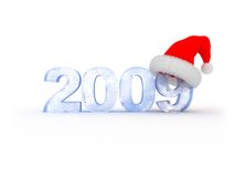 2009 new year. 3d illustration of frozen text '2009' in red christmas hat stock illustration