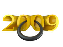 2009 new year. Inscription 2009 symbolising year of a bull stock illustration