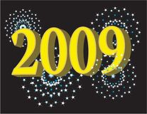 2009 new year. Vector illustration for the year 2009 showcasing fireworks and text of the year stock illustration