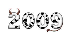 2009 new year. 2009, year, new, cow, bull, number, date, сalendar, holiday, horns stock illustration