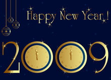 2009 new year card. With midnight clock Stock Photos