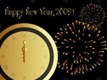 2009 new year card. With midnight clock and firework Royalty Free Stock Photo