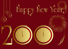 2009 new year card. With midnight clock and firework royalty free illustration