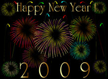 2009 new year card. With firework Royalty Free Stock Image