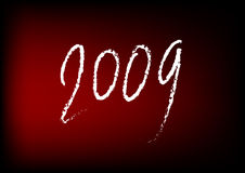 2009 New Year on Red. This illustration represents a handwriten 2009 numbers on a red background Stock Image