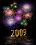 2009 New Years Eve Digital Fireworks. Illustration for New Years Eve celebration with sparkling lights and fireworks and 3D gold numbers Stock Illustration