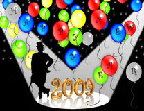 2009 New Years Eve invitation. Illustration for New Years Eve celebration with sparkling lights, 3D gold numbers and silhouette of man in top hat and tails Royalty Free Stock Image