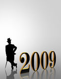 2009 New Years Eve invitation. Illustration for New Years Eve 2009 celebration with 3D gold numbers and silhouette of man in top hat and tails with copy space Vector Illustration