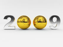 2009 new years golden ball. Fine 3d 2009 new years golden soccer ball vector illustration