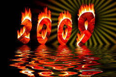 2009 numbers in fire flooding in water. 2009 new year numbers in fire flooding in water Royalty Free Stock Image