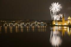 2009 nya år för festliga fyrverkerier Arkivbild