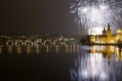 2009 nya år för festliga fyrverkerier Arkivfoto