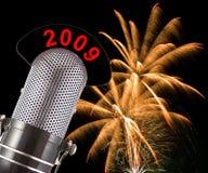 2009 nya år för helgdagsaftonfyrverkerier Arkivfoto