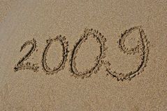 2009 op het strand Stock Foto