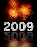 2009 party. Fine image 3d of 2009 and fireworks background Royalty Free Illustration