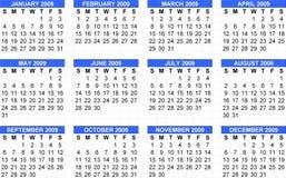 2009 pochodzenia kalendarzowych Niedzielę Obraz Stock