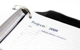 2009 Projects. Agenda book paper .. 2009 projects summry Stock Photos