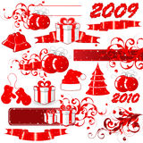 2009 Red Holiday icons. A set of 2009 red holiday icons with a Christmas theme Stock Photo