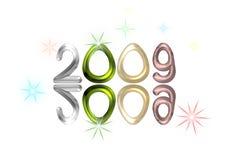 2009 riflesso su bianco con le stelle Immagine Stock Libera da Diritti