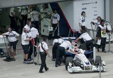 2009 Robert Kubica bij Maleise F1 Grand Prix Stock Foto's
