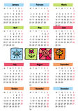 2009 seasons calendar. Colorful 2009 calendar with four seasons icons. Starts Monday Stock Illustration