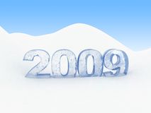 2009 in snow. 3d illustration of frozen text '2009' in snow vector illustration