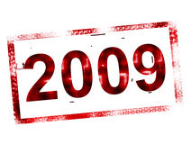 2009 stamp. 2009 red and old stamp Stock Photo