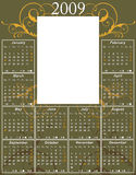 2009 Swirl Calendar. 2009 USA Calendar with moon phases template (size: 11R or 11 × 14) to easy paste any photo of size 5 x 7 (5R, 2L or 13cm x 18cm) vector vector illustration