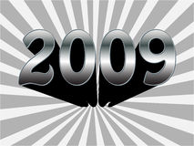 2009 text. Metallic vector illustration Stock Images