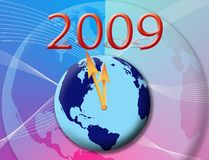 2009 wallpaper. The world is on the boarder of the 2009 with a colour full background.A clock on the earth Royalty Free Stock Image