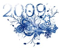 2009 winter design. Floral illustration for the new year 2009 stock illustration