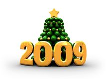 2009 with xmas tree. 3d illustration of text '2009' with green christmas tree Stock Photos