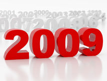 2009 year. High resolution image new-year.  3d illustration over white backgrounds Stock Photography