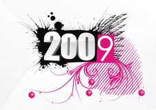 2009 Year. Black and purple. Happy Holidays royalty free illustration
