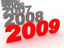 2009 year. 3d illustration of row of years with 2009 on front Royalty Free Stock Photo